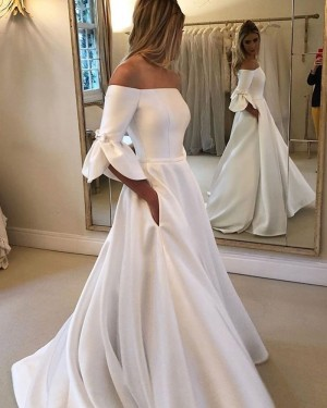 White A-line Off the Shoulder Satin Wedding Dress with Half Length Sleeves NWD2118