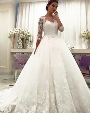 Appliqued Ball Gown Bateau Neck Lace Wedding Dress with Half Length Sleeves WD2066